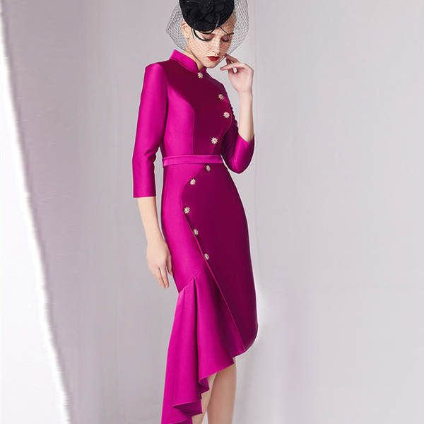 2019 fuchsia satin ruffles short mother of the bride dresses 3/4 sleeves mother's dress knee length high collar women evening/prom gowns