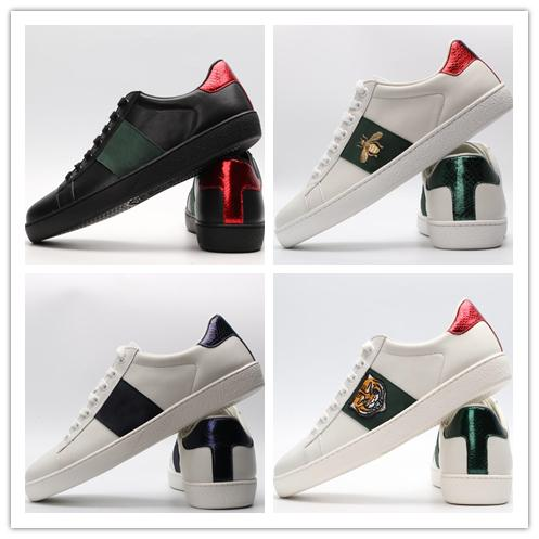 with box 2019 Fashion stripes green red Embroidered Sneakers ACE black Genuine Leather Men Women Casual Designer Shoes Size 35-46