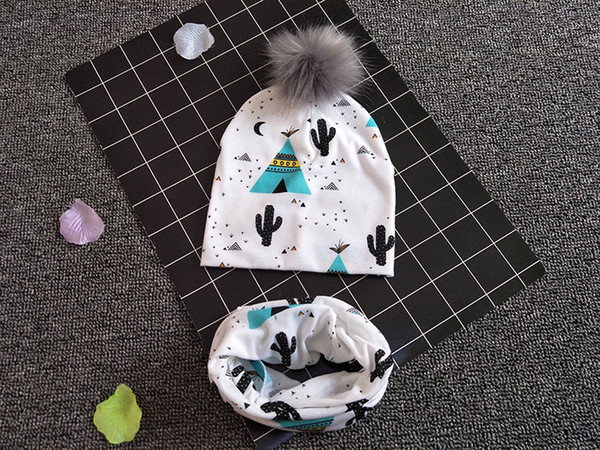 Wholesale 28 design newborn baby caps fox cactus panda eagle tiger printed animals cap with fur ball and scarf toddler fashion hat scarves