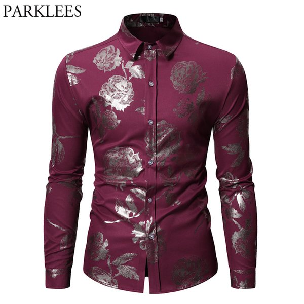 Herren Hipster Gold Rose Print Shirt Slim Fit Langarm Weinrot Hochzeit Kleid Shirts Floral Party Prom Camisa Social Masuculina