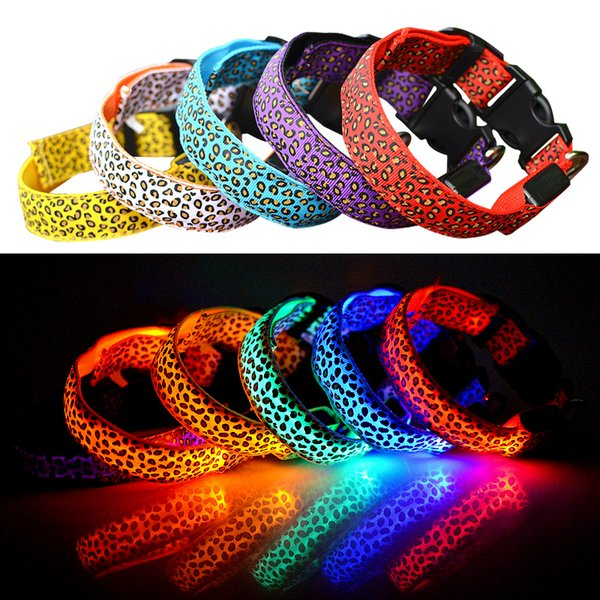 LED Dog Collar Safety Leopard Design Nylon Night Light Necklace For Dog Cat Glowing in the dark Flashing Pet Decor Fluorescent luminous