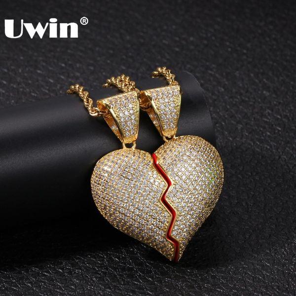 UWIN Magnete Broke Heart Full Iced Out Ciondolo con zirconi cubici Collana in oro argento Colore Fashion Hiphop Coppia gioielli regalo