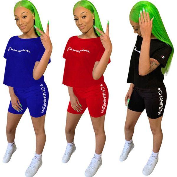 Pantalone estivo da donna di design Champion Completo da allenamento di marca Tuta da due pezzi Abbigliamento sportivo T-Shirt Leggings da T Sportswear A52007