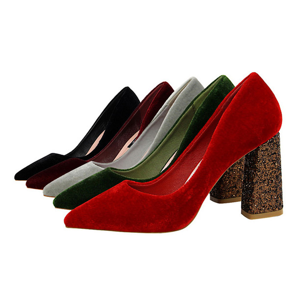 Women's Fashion Sexy Nightclub High Heel Women's Shoes Sequins Thick With High Heel Suede Shallow Mouth Pointed Shoes jooyoo