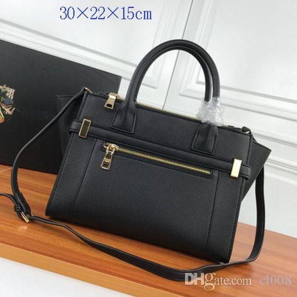 Diseñador de totalizadores de las mujeres bolsos de moda lichee grano de cuero reales dobles cremalleras correas desmontables versátil bolsas casuales 30x22x15cm