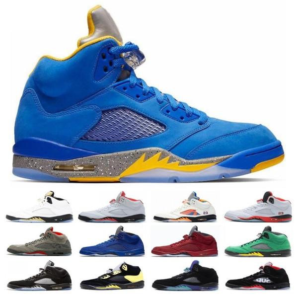 Top vente Michigan Inspire Trophy Room 5s Chaussures de Basketball Hommes Bleu Glace 5 Laney Jaune Bred Daim Rouge Métallique Noir Baskets