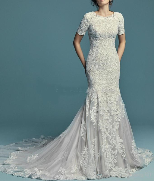 Vintage 2019 lace applique mermaid mode t wedding dre e with hort half leeve jewel neck button bac wedding gown leeved cu tom made
