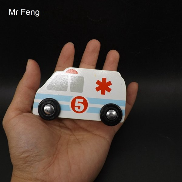 Fun Kids Mini Wooden Ambulance Model Puzzle For Children Building Traffic Safety Game ( Model Number I539 )
