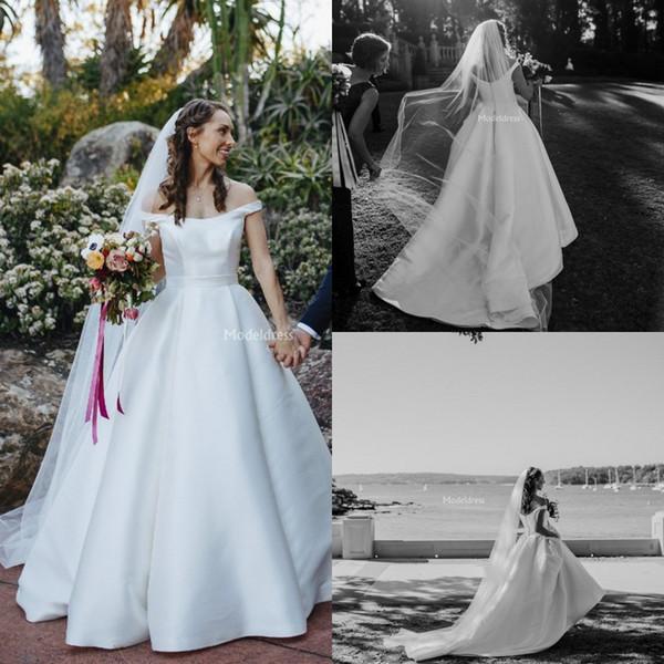 2019 Arabric vestidos de novia fuera del hombro una línea de tren de barrido Modern Country Style vestido de novia tamaño más sólido sólido Vestidoe De Noiva personalizado