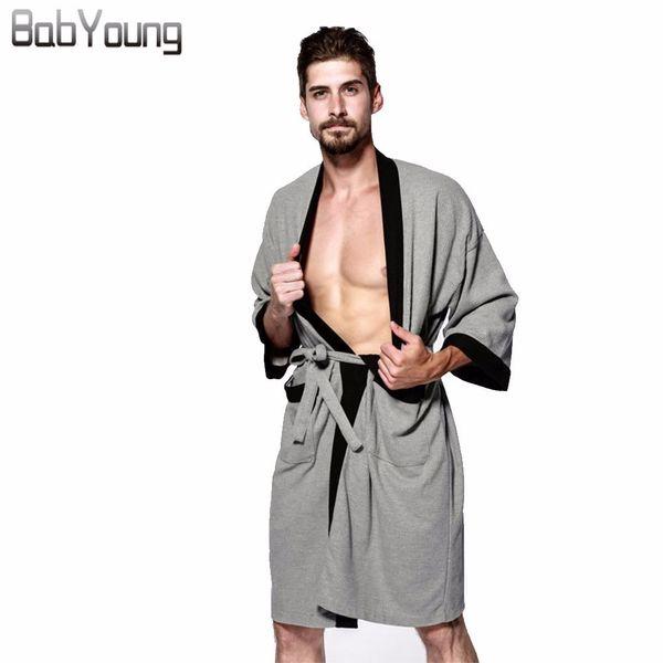 Babyoung Sexy Waffle Cotton Men Robes Bathrobes Patchwork Hotel Sauna SPA Unisex Bathrobes Roupao Male Kimono Homme Plus Size