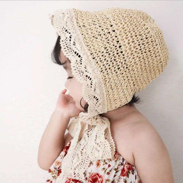 Chapeau de pêcheur pour enfants d'été Cravate en dentelle parasol Cap Baby Girl Sunscreen Beach Hat Fashion Party chapeau de paille Stingy Brim Chapeaux CCA11792 10pcs