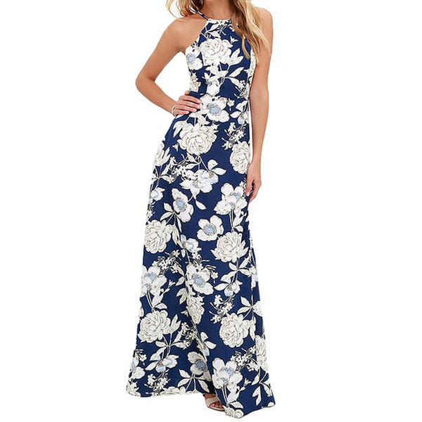 Vintage Floral Print Summer Long Maxi Dress De L'épaule Sexy Femmes Causal Dress Plus La Taille Beach Robes De Soirée Robes