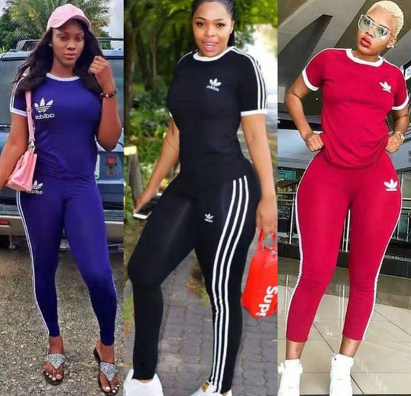 top popular womens 2 piece set tracksuit shirt pants outfits short sleeve sportswear shirt trousers sweatsuit pullover tights sportswear very klw2098 2019