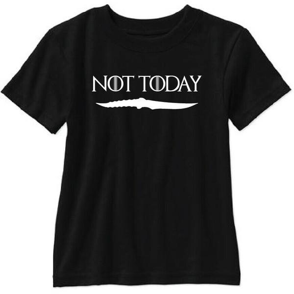 Não Hoje T Shirt Game Thrones Arya Stark Tem Noite Rei Targaryen John Neve 2019 Engraçado Algodão Top Casual Impresso Camiseta Dos Homens