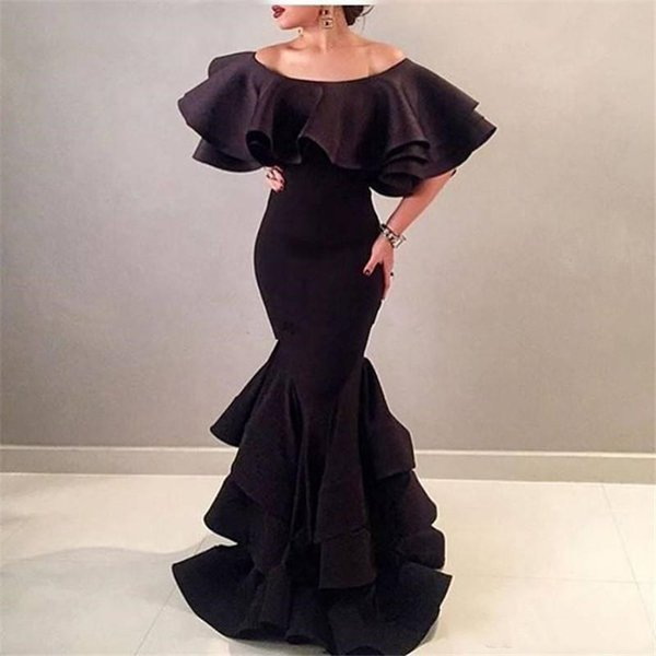 2019 Sexy Off Shoulder Black Mermaid Prom Dresses Long Scalloped Neck Arabic Style Evening Dress Tiered Formal Women Party Gowns