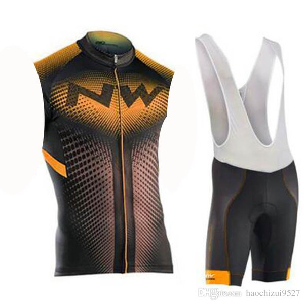 NW Newest Road Bike Wear Men Set Cycling Clothing Breathable Anti-UV Bicycle Wear/sleeveless outdoor Cycling Jersey Sets