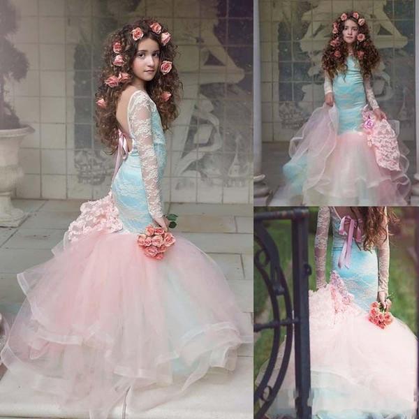 Belle Rose Sirène Fleur Filles Robes 2019 Dentelle À Manches Longues Fatigué Tulle Pageant Robes pour Petite Fille Enfants Robes De Fête BA9221