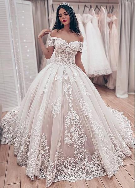 Vestidos de novia hermosos del vestido de bola del cordón 2020 Sweetheart Off The Shoulder Appliques Lace Up Back Vestidos de boda de la novia musulmana