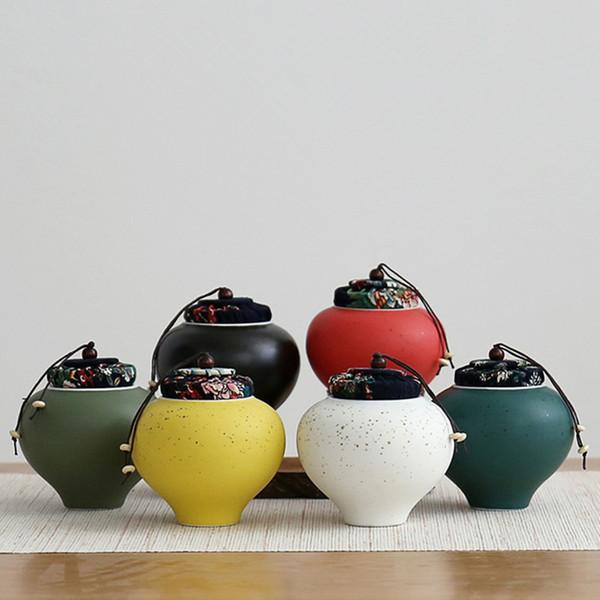 9.5*10.5cm Cute Tea Pot Ceramic Storage Tank For Kitchen Decor Tea Coffee Sugar Storage Jars Porcelain Caddy Dried Nuts Canister