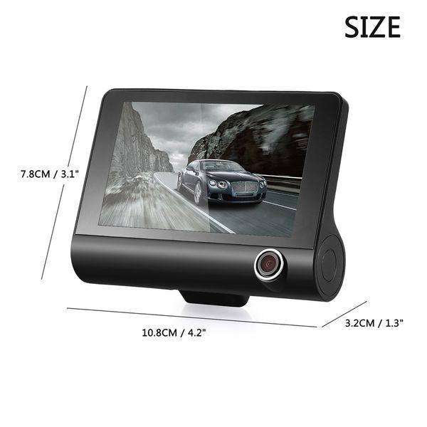 New arrival H103 4 Inch Full HD 1080P Car DVR Dash Cam Camera Three Lens Camcorder Support G-sensor / Motion Detection / Loop Recording