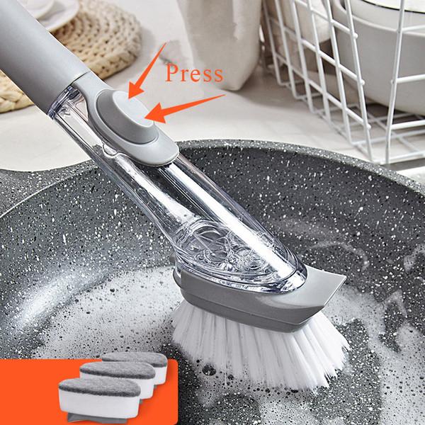 3 Değiştirilebilir Sünger Kurutma Pedi ile fırça Yıkama Uzun Saplı Pan Pot Fırça Çanak Kase Yıkama Temizleme Fırçası Ev Mutfak