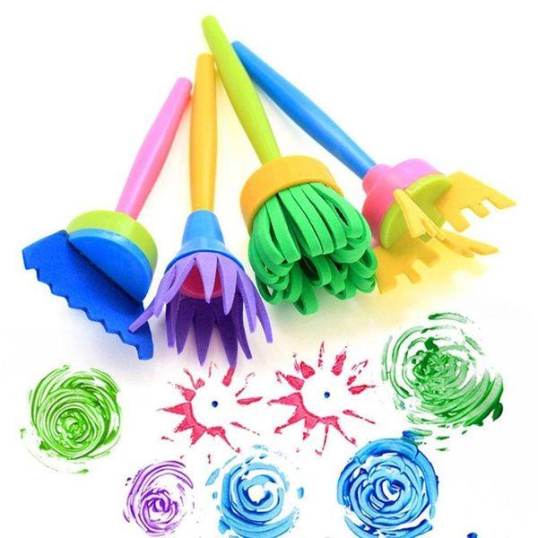 top popular 4pcs set Children's Painting Tool DIY Flower Graffiti Plastic Sponge Brushes Funny Creative Education Toy Drawing For Kids Wholesale 2021