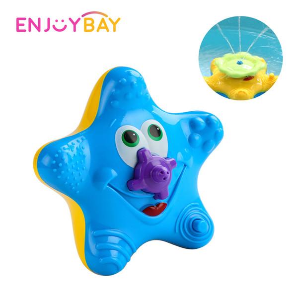 Enjoybay Electronic Water Spray Bath Toy Cute Starfish Rotary Bathing Toy Interactive Educational Bathroom Tub Doll for Kids