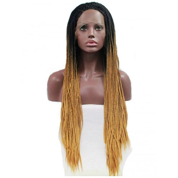 Box Braided Wig With Baby Hair Dark Roots Ombre Brown Hand Tied Heat Resistant Braids Synthetic Lace Front Wigs Brown Ombre For Women