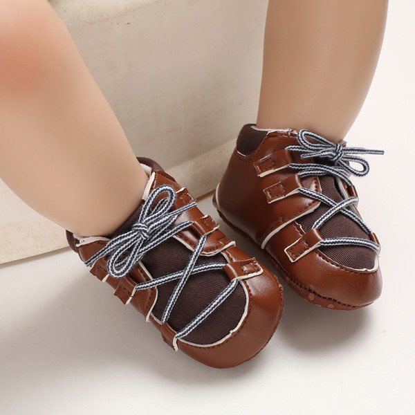 pudcoco infant newborn baby boy girl soft sole laceup pu casual shoes trainers 0-18months baby cross -tied shoes