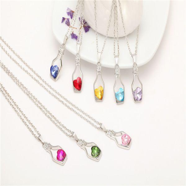 2019 Atacado moda desejando garrafa de cristal pingente de senhora colar de pêssego coração colorido para acessórios de jóias das mulheres