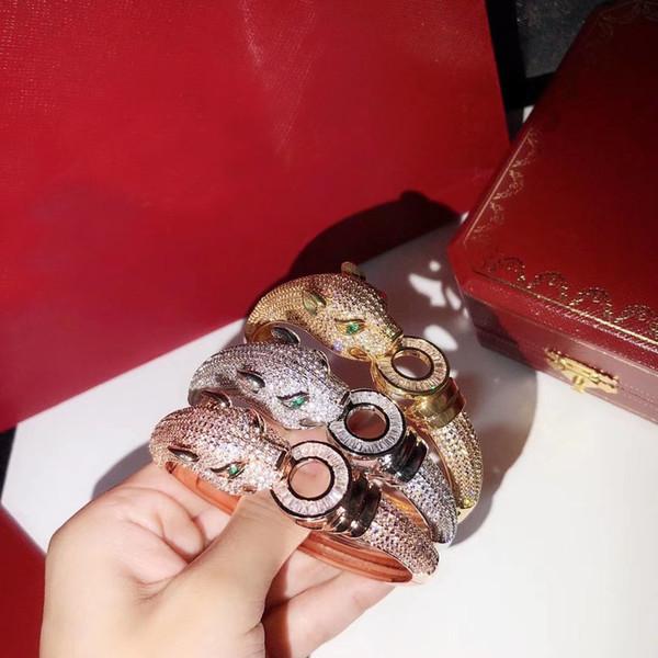Оптовая новый высококачественный дизайнер манжеты кубического циркония проложили браслет из 18-каратного желтого золота / белого золота с покрытием браслеты для женщин