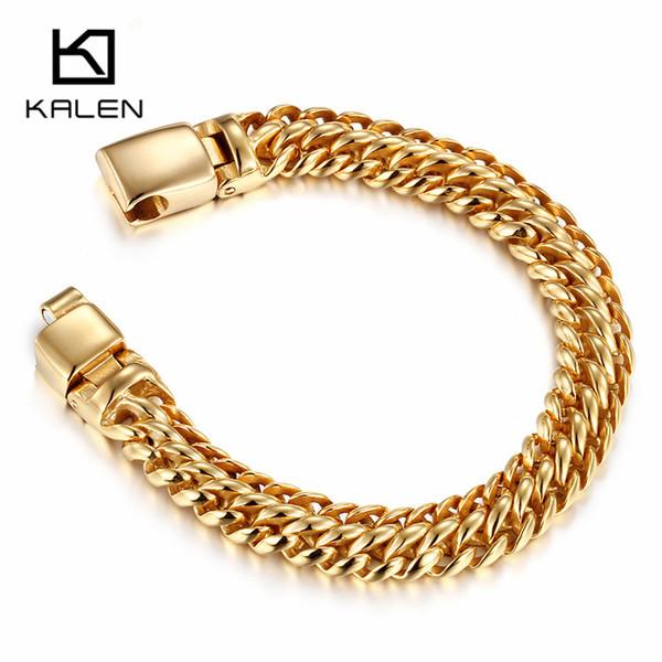 Nouveau 22cm Chain Link Bracelet en or pour les hommes en acier inoxydable de 12 mm Largeur Curb chaîne cubaine Bracelet Homme Bracelet Bijoux