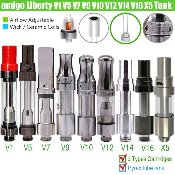 Original Amigo Liberty X5 V1 V3 V5 V7 V9 V10 V12 V14 V16 Thanos tech Tank Cartridges 510 Thick Oil O pen BUD Vaporizer Ceramic Coil Atomizer