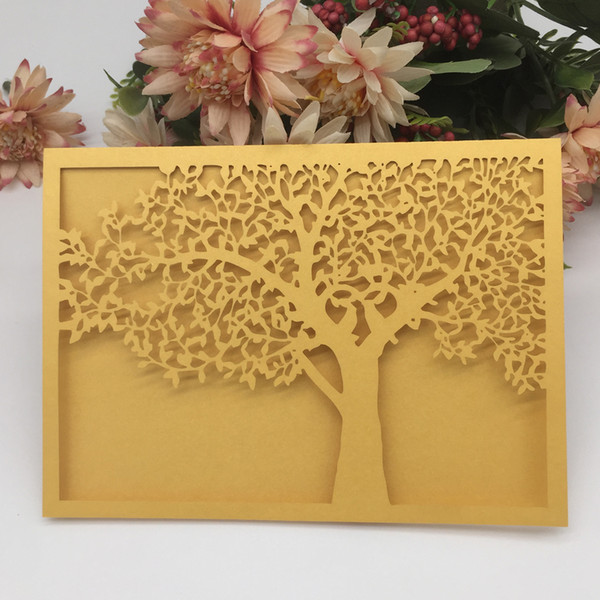 50PCS /lot Wedding Invitations Cards Big Tree Apply To Party Events Ceremony Hollow Laser Cut Pearl Paper Design