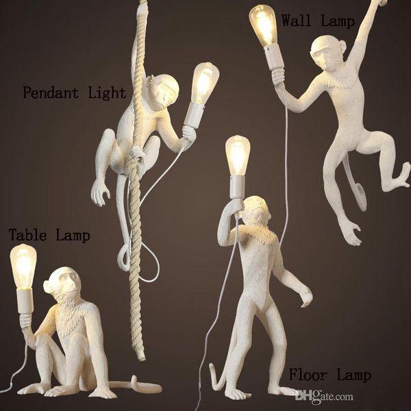 blanc moderne / singe noir corde de chanvre Pendentif Light Fashion Simple Art nordique Résine Seletti Lampe suspendue Singe