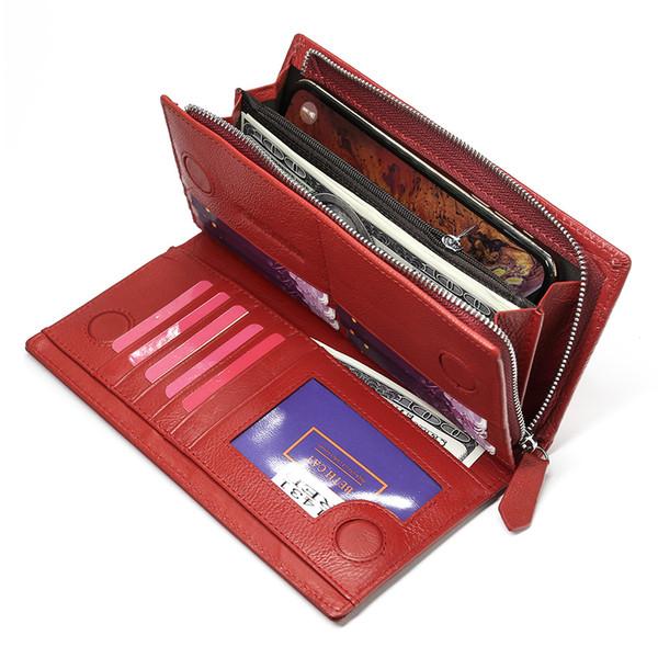 Beth Cat Luxury Womens Geldbörse aus echtem Leder Geldbörsen mit großer Kapazität Geldbörsen mit Cluth Reißverschlusstasche Kartenhalter Ladies PurseMX190824