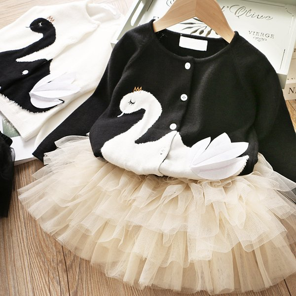 Girls Swan Cardigan+Cake Tutu Skirts Set Fall 19 Kids Boutique Clothing 2-7T Little Girls Long Sleeves 2 PC Outfits High Quality