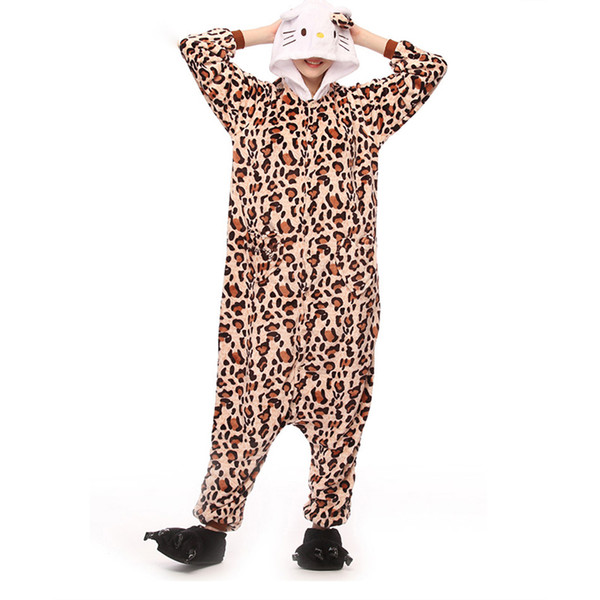 Women Onesie Leopard Kitty Cat Pajama Adult Sleep Overalls Cartoon Animal Costume Girls Fashion Party Suit Winter Loose Jumpsuit