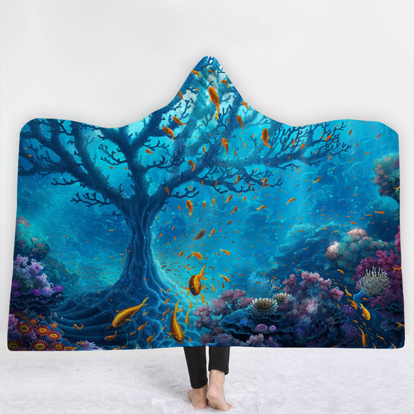 37Styles Ocean Seaside Deep Sea Nature Scenery 3D Printed Plush Hooded Blanket for Beds Warm Wearable Soft Fleece Throw Blankets