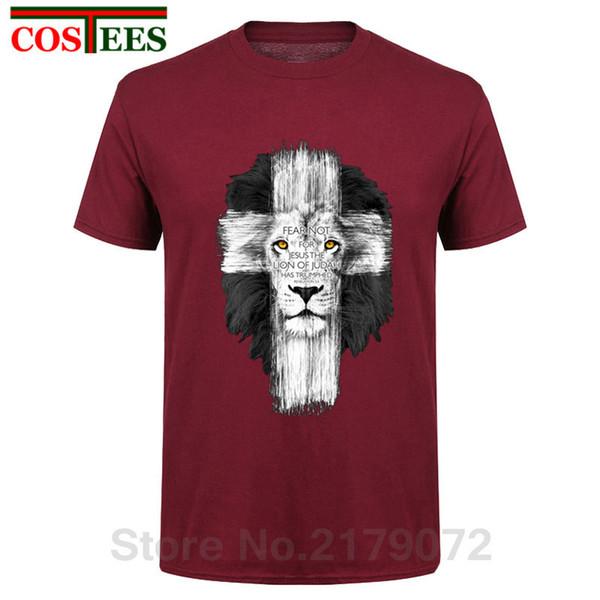 New Mens Kerusso Brand T-Shirt Mens Lion Cross Fear Not Tops Camisetas Casual Harajuku Camisetas Hombre T Shirt