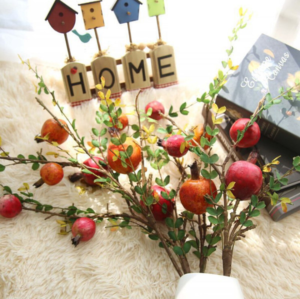 artificial fruit tree branches artificial pomegranate fruit branch berry simulation flower home decoration wedding fake flower