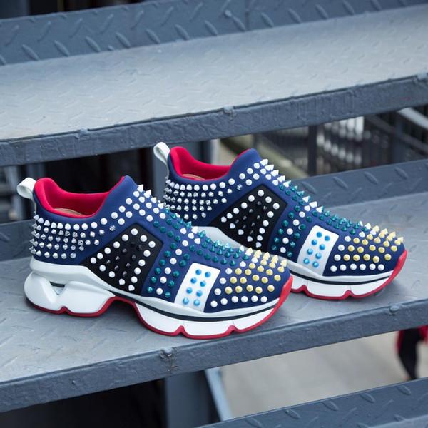 Inferior 2019 sapatos de grife de luxo da marca do desenhador de moda Women Shoes Ouro Low Cut Couro homens planas vermelhas sapatilhas ocasionais 35-45