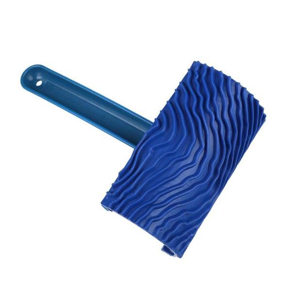 Acheter Bleu Caoutchouc Bois Grain Peinture Rouleau Diy Graining Peinture Outil Bois Grain Motif Peinture Murale Rouleau Avec Poignée Home Tool De