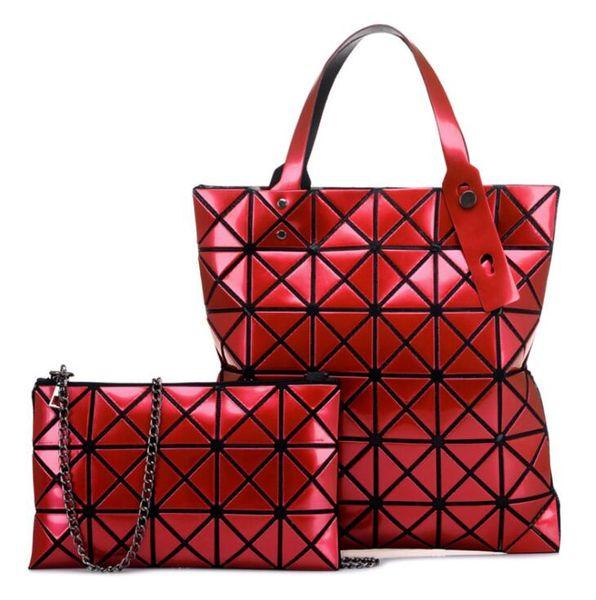 Diamond Lattice Laser Handbag for Women Fashion Female Red Single Shoulder Bag Hundred Changes Fold Over Daughter Handbags Two Piece Suit