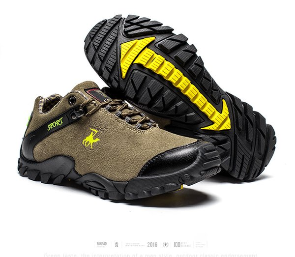 CAMEL Men Outdoor Sports Hiking Shoes Leather Anti-skid Shock Absorption Breathable Comfortable Camping Hiking Trekking foot Sneakers