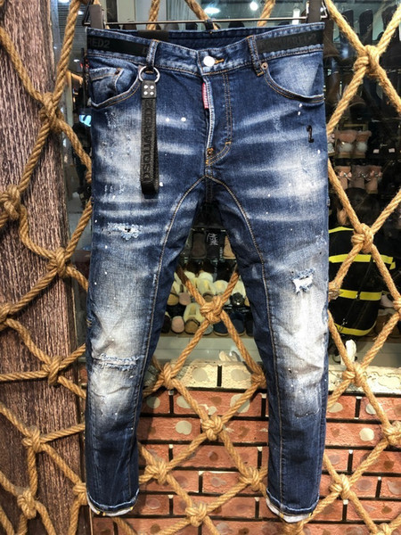 Best Selling Denim Trousers Men D2019 Fashion High-end Hole Patch Grinding Micro-slim Slim Casual Small Straight Foot Male A215