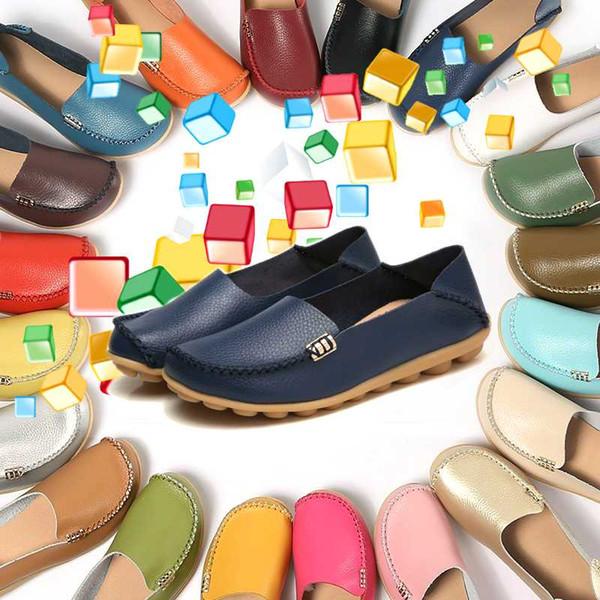 Couleur bonbons Femmes Chaussures en cuir véritable Doug Comfort respirante Flats Driving Chaussures Indoor extérieur Slip-on Slipper Mocassins