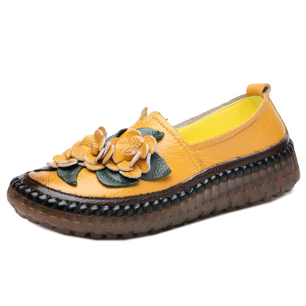 Handmade Shoes Retro Style Handmade Genuine Leather Loafers Shoes Women Spring Round Toe Appliques Soft Slip-On Casual Lady Flat Shoes