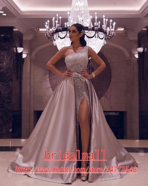 Glitter Side Slit Sequined African Evening Dresses 2020 Elegant One Shoulder Formal Pageant Prom Dresses Detachable Skirts Gala Party Gowns