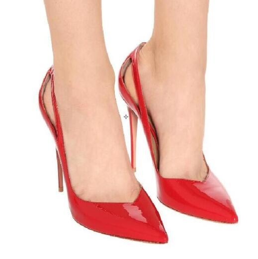 Hot Fashion Sexy Part Red Patent Leather Pointed Toe Shoe Slip-On Thin Heels Women Shoes Shallow Ladies Pumps
